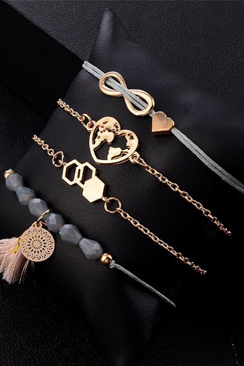 Cute Summer Rose Gold Heart Stacked Bracelet Set Fashion Jewelry for Women Infinity Heart -  linda pulsera - www.Jewolite.com #bracelett