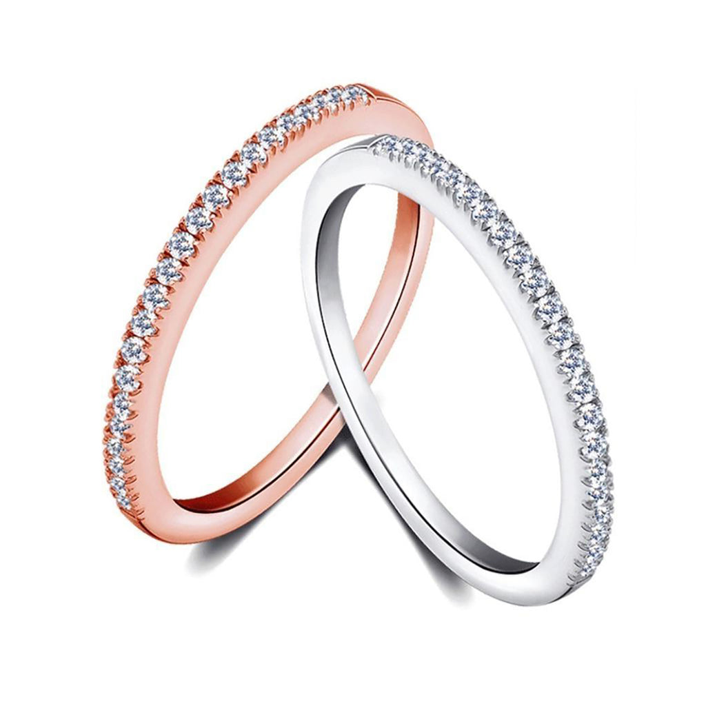 cute simple crystal thin stackable ring in silver or gold -  lindos anillos simples - www.Jewolite.com