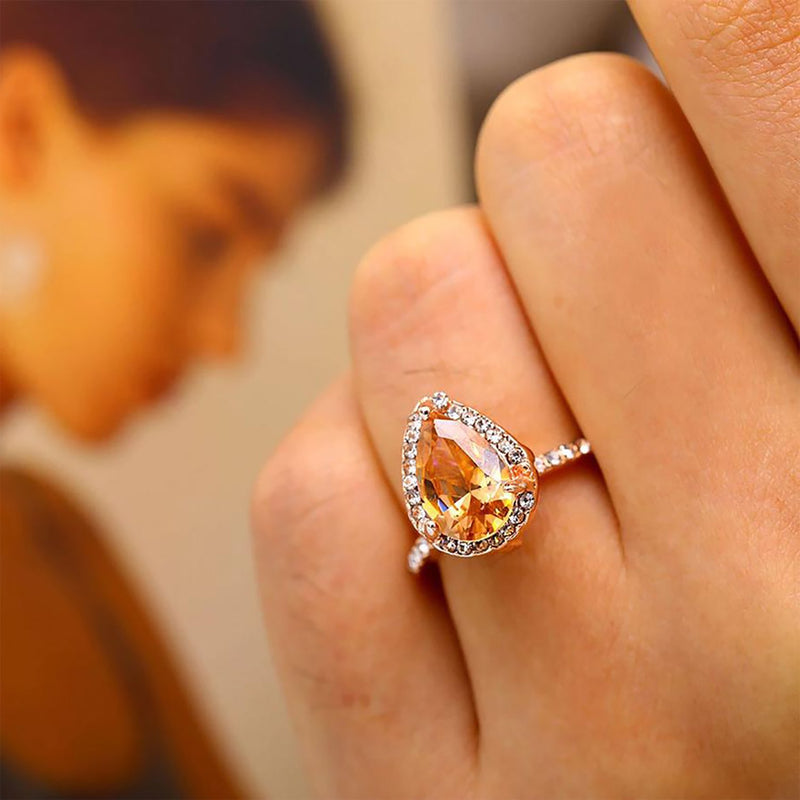 Pear Shaped Halo Morganite Ring Beautiful Rose Gold Cute Champagne Fashion Jewelry for Women Engagement Wedding Graduation Present - www.Jewolite.com