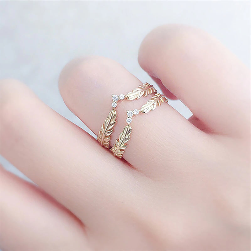 Seraphina Cute Crystal Heart Angel Wings Leaf Band Ring