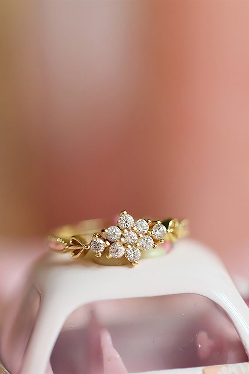 Cute Simple Vintage Flower Gold Promise Graduation Wedding Engagement Ring Women Fashion Jewelry - www.Jewolite.com #rings Edit alt text Edit alt text  Edit alt text