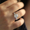 Cute Square Crystal Halo Engagement Wedding Promise Ring Fashion Jewelry Ideas for Women -  lindos anillos para mujer - www.Jewolite.com #rings