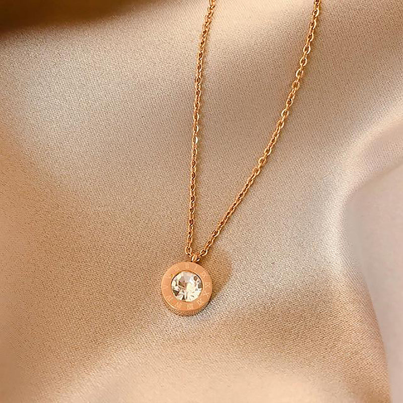 Unique Gold Circle Crystal Gold Chain Choker Necklace Fashion Jewelry for Women - www.Jewolite.com