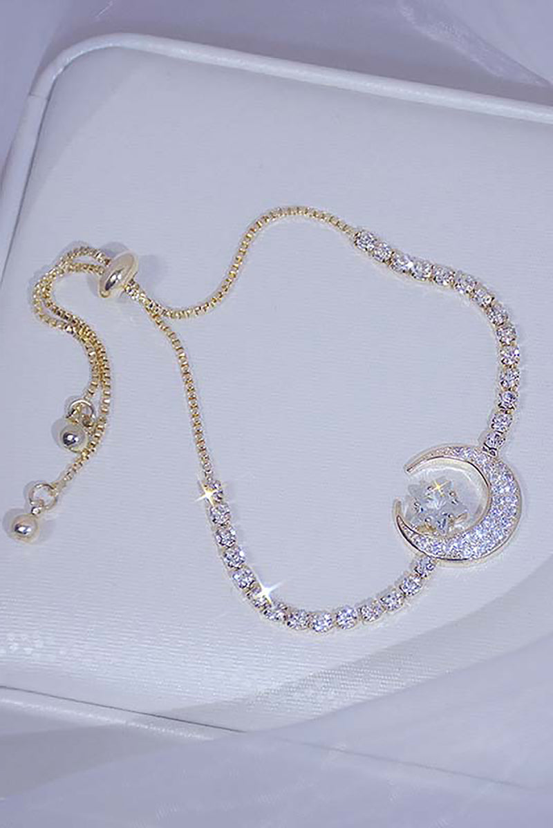 Cute Crystal Chain Moon Star Gold Chain Bracelet for Women - pulsera de luna de cristal - www.Jewolite.com #bracelet