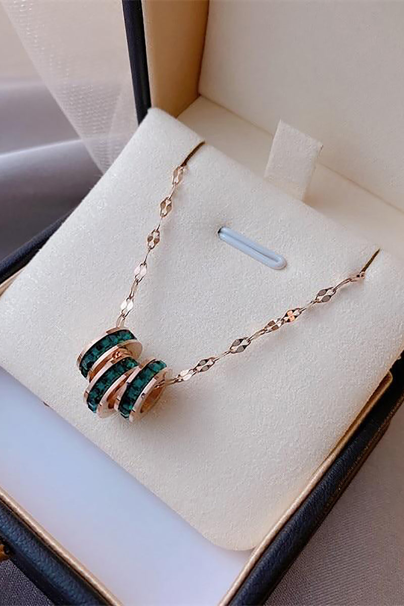 Beautiful Triple Emerald Bead Gold Chain Choker Necklace - www.Jewolite.com #necklaces