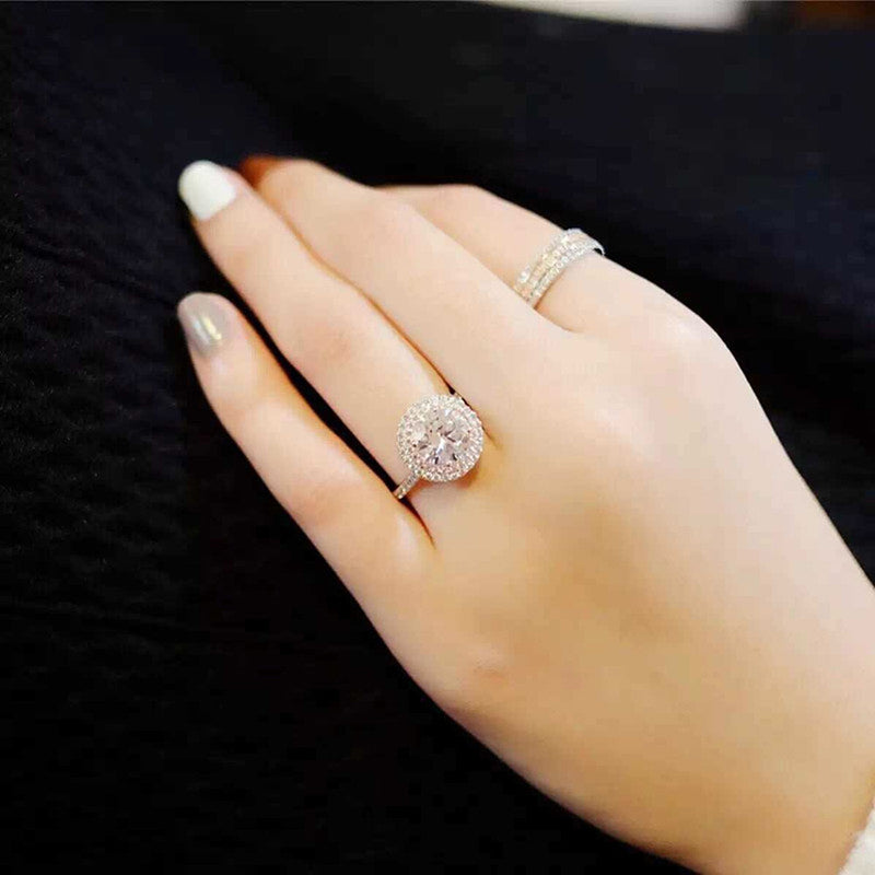 Cute Pink Round Halo Ring Cubic Zirconia Pink Crystal Engagement Promise Anniversary Rings Classic Statement Fashion Jewelry for Women (www.Jewolite.com) #rings  Edit alt text