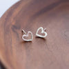 Cute Simple Dainty Minimalist Heart Outline Earring Studs Fashion Jewelry for Women - www.Jewolite.com