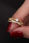 Cute Crystal Pave Gold Crisso Cross Ring Fashion Jewelry - www.Jewolite.com