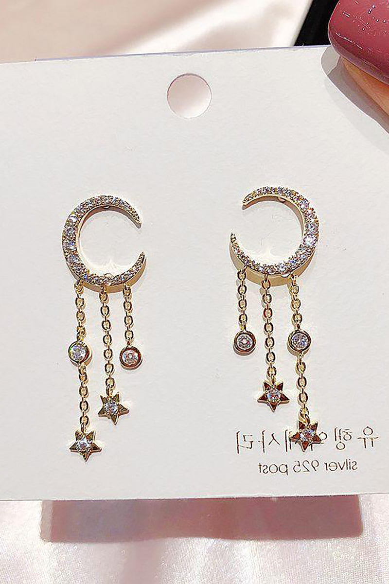 Pretty Crystal Moon Star Dangle Chain Earring Studs Fashion Jewelry for Women - www.Jewolite.com