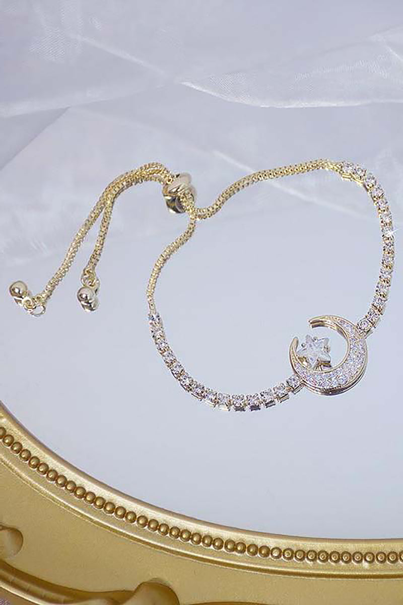 Cute Crystal Chain Moon Star Gold Chain Bracelet for Women - www.Jewolite.com #bracelets  Edit alt text