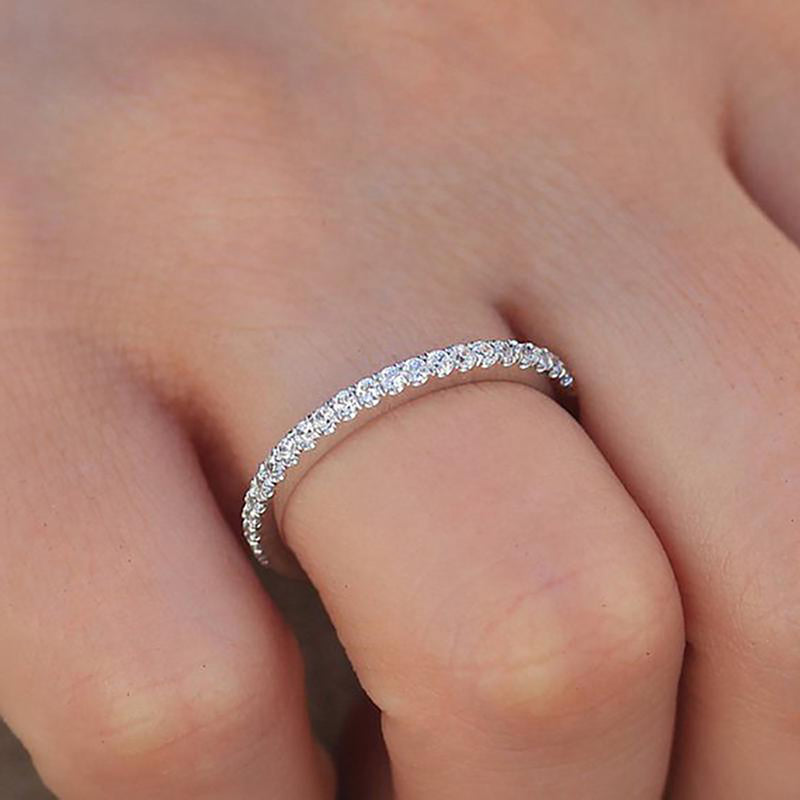 cute simple crystal thin stackable ring in silver or gold - lindos anillos simples - www.Jewolite.com #ring  Edit alt text