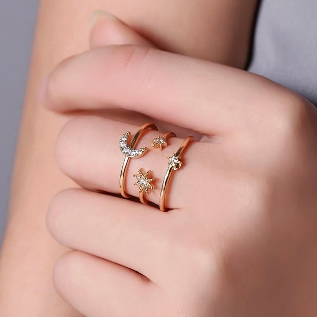 Trending Popular Gold Star & Moon Crystal Band Ring Fashion Jewelry for Women - www.Jewolite.com #rings  Edit alt text