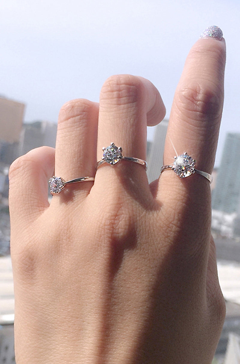 Simple Sparkly Solitaire Ring Cute Beautiful Medium Crystal Cubic Zirconia Rings Promise Engagement Wedding Present Ring Set in Silver Statement Fashion Jewelry for Women (www.Jewolite.com) #rings