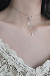 Cute Simple Lariat Silver Chain Star Moon Necklace Choker Trending Fashion Jewelry for Women - www.Jewolite.com #necklaces