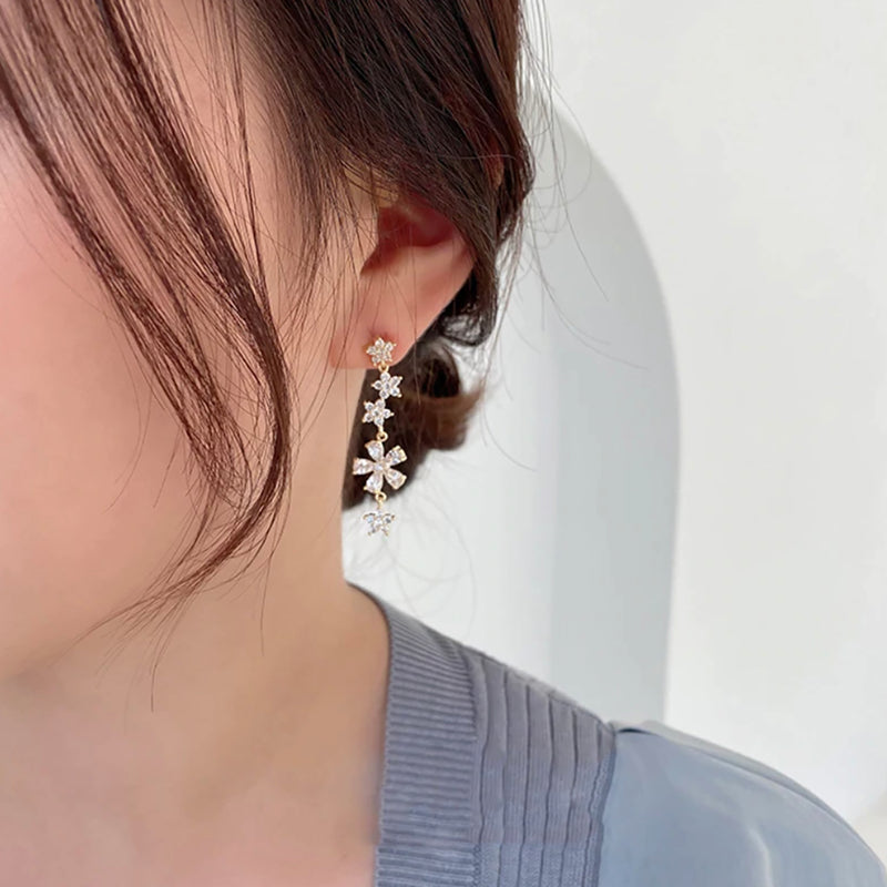 Earring Crystal Flower Pretty Long Dangle Studs - www.Jewolite.com #earrings