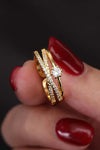 Cute Crystal Pave Gold Criss Cross Ring Fashion Jewelry - www.Jewolite.com