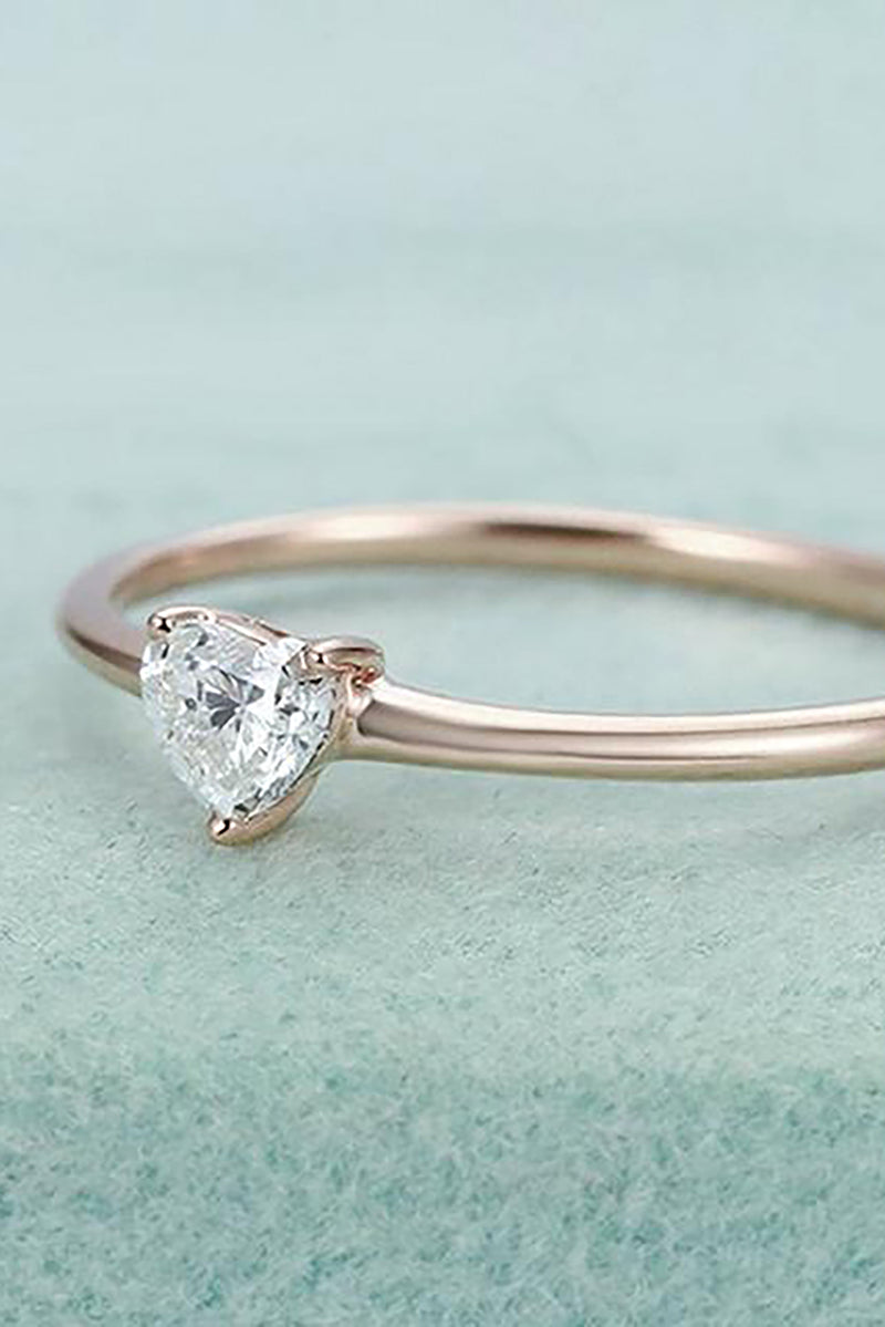 cute simple tiny small crystal heart solitaire ring fashion jewelry - anillo simple lindo corazón de cristal - www.Jewolite.com