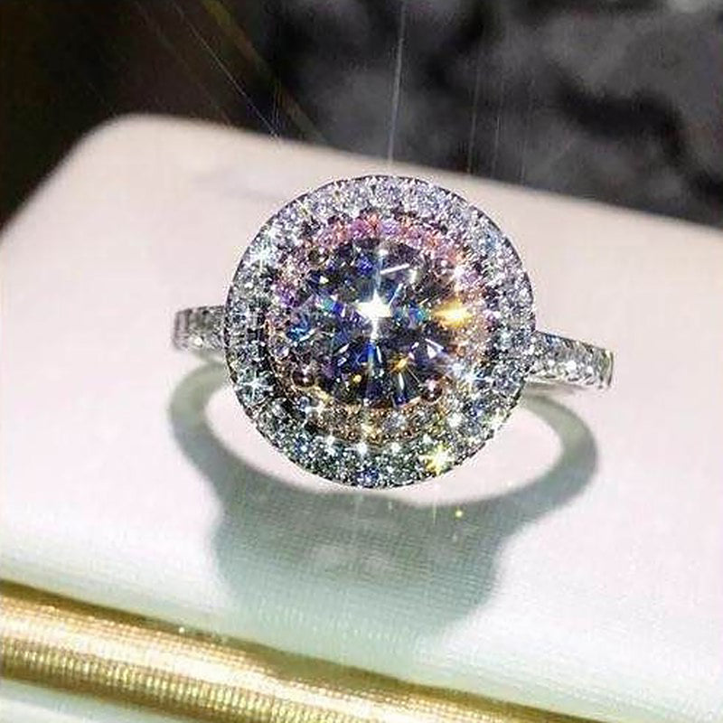 Cute Pink Round Halo Ring Cubic Zirconia Pink Crystal Engagement Promise Anniversary Rings Classic Statement Fashion Jewelry for Women (www.Jewolite.com) #rings