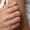 Cute Rose Gold Boho Unique Stacking Midi Opal Band Ring Set -  lindo conjunto de anillos - www.Jewolite.com #rings