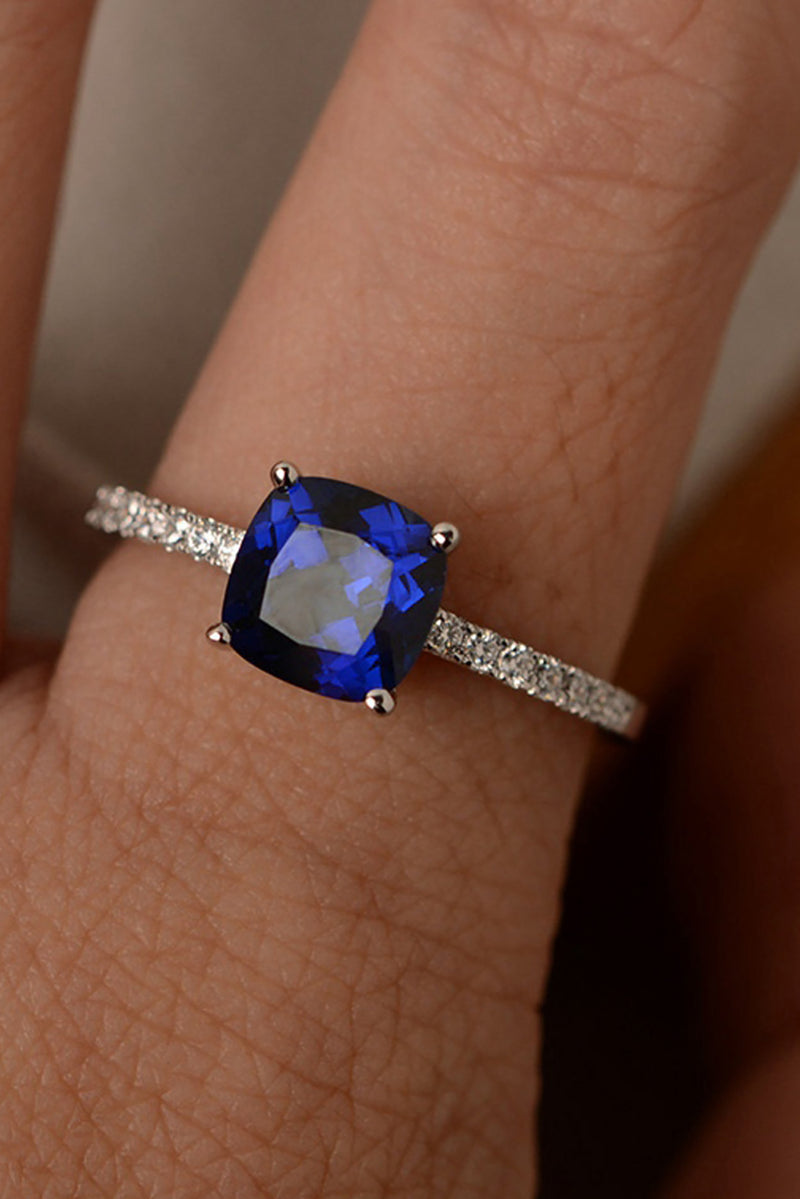 Cute Simple Solitaire Blue Gemstone Crystal Wedding Promise Engagement Ring Ideas Statement Fashion Jewelry for Women for Teens Girls anillo de cristal azul bastante (www.jewolite.com)