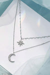 Pretty Moon Star Double Layered Silver Chain Choker Necklace - www.Jewolite.com  Edit alt text