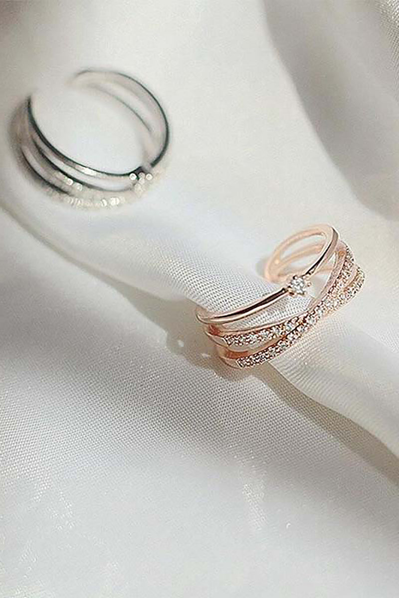 Emilia Cute Crystal Criss Cross X Band Adjustable Ring for Women in Rose Gold / Silver