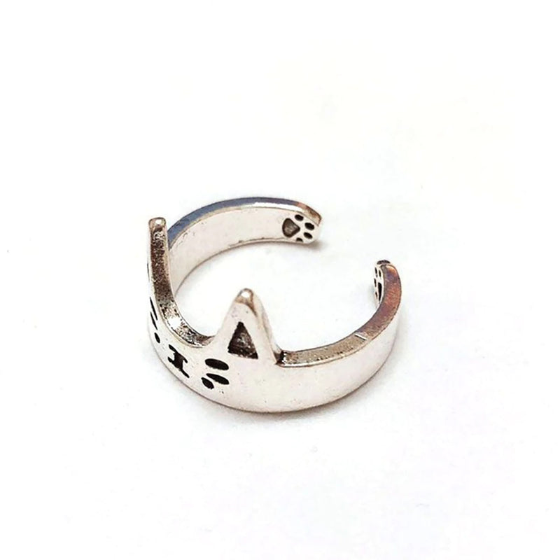 Cute Silver Cat Love Adjustable Ring Fashion Jewelry for Teens Girls for Women - www.Jewolite.com