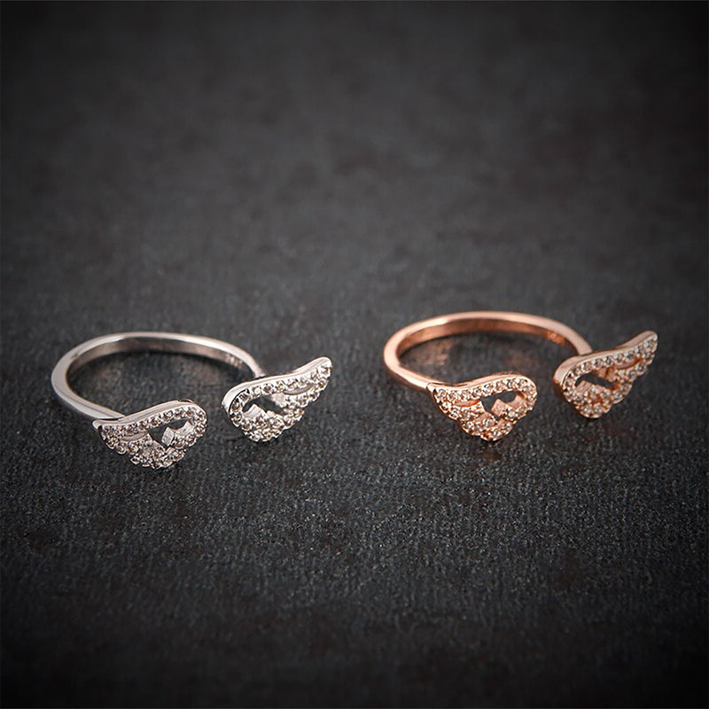 eb502c9343f28 Arabella Cute Unique Crystal Angel Wing Adjustable Ring