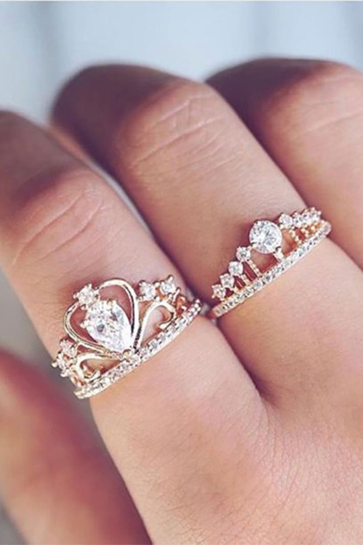 Cute Rose Gold Crown Ring Promise Engagement Graduation Present Statement Fashion Jewelry for Teen Girls for Women - www.Jewolite.com