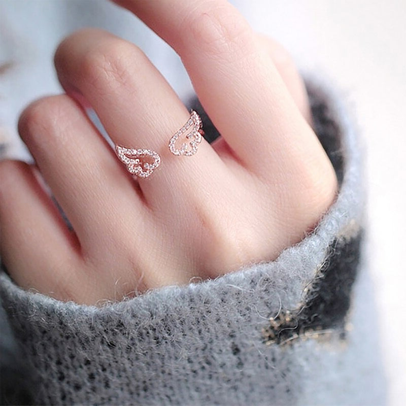 Cute Crystal Angel Wing Adjustable Ring in Rose Gold or Silver for Teen Girls for Women - lindos anilloswww.Jewolite.com