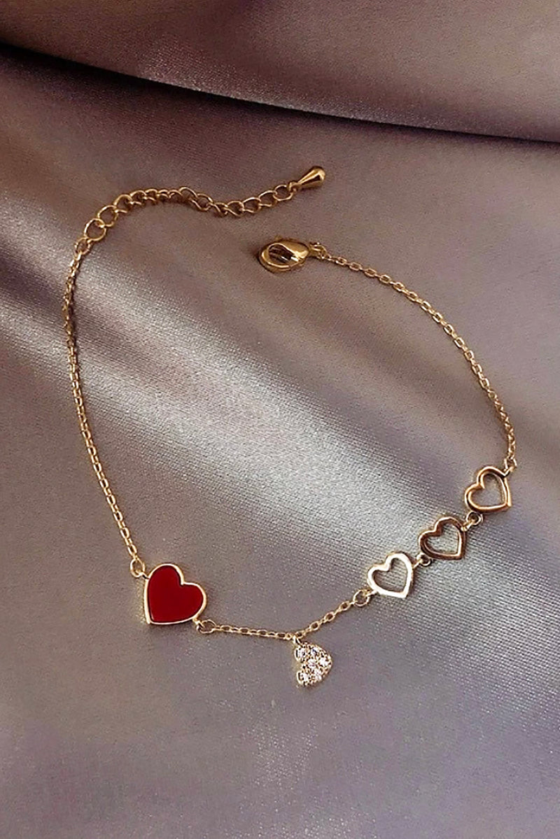 Cute Dainty Heart Gold Chain Charm Bracelet for Women - www.Jewolite.com #bracelets Edit alt text