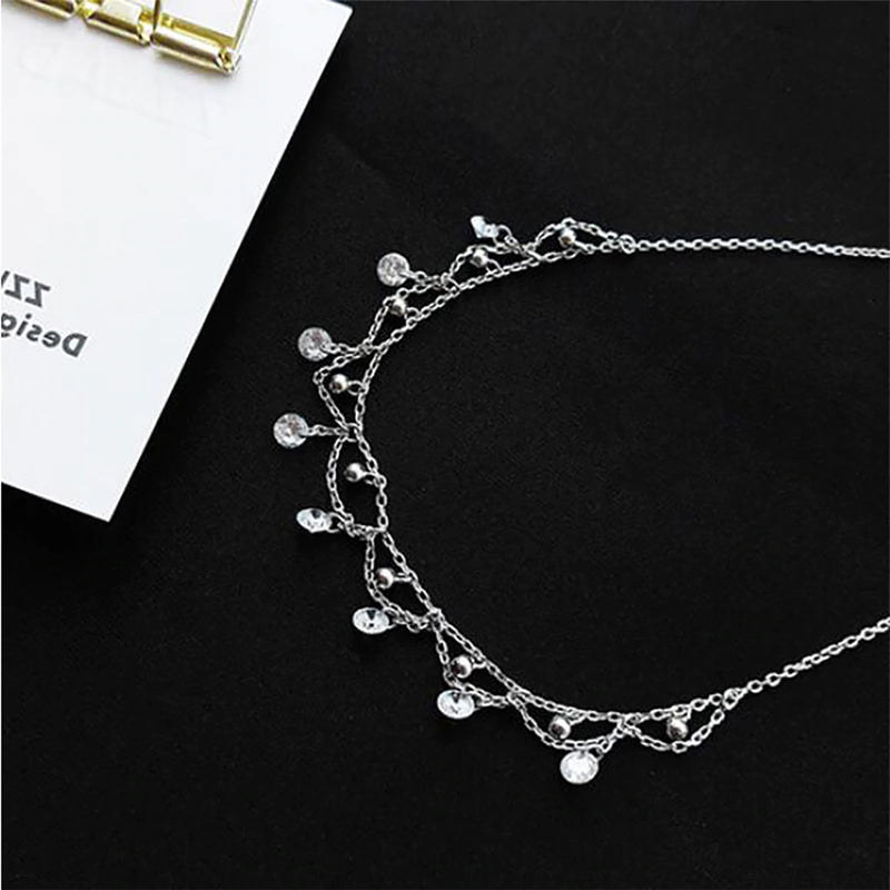 Cute Classy Fancy Lace Chandelier Crystal Necklaces for Girlfriend Womens Fashion Statement Jewelry in Silver - collares lindos - www.Jewolite.com