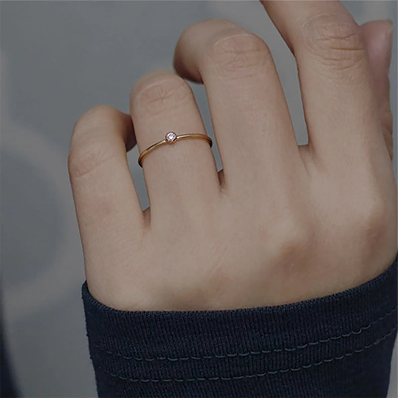 Cute Minimalist Ring Simple Gold Round Circle Crystal Rings Fashion Jewelry for Graduation Wedding Engagement - www.Jewolite.com