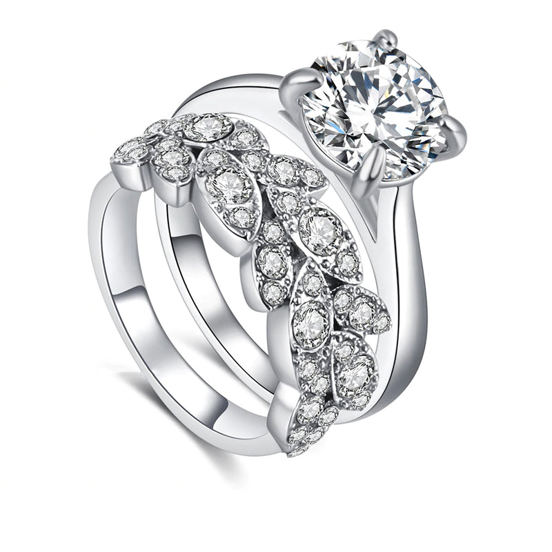 Beautiful Leaf Solitaire Ring Set Wedding Graduation Engagement Present Fashion Statement Jewelry - www.Jewolite.com