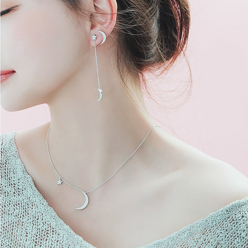 Dainty Cute Moon Star Floating Chain Choker Necklace Fashion Jewelry for Women for Teens Girls in Silver for Gift - collares lindos - www.Jewolite.com