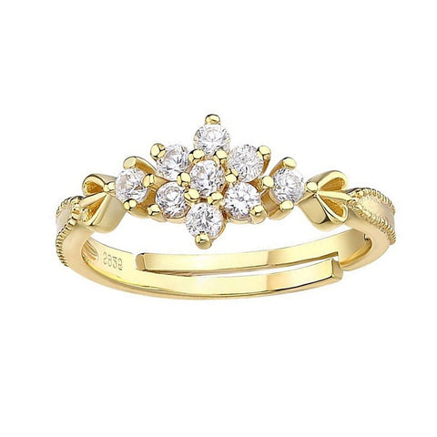 Amina Cute Dainty Crystal Snowflake Flower Ring