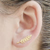 Minimalist Leaf Ear Climber Earrings Studs Handmade Cute for Teens in Gold Or Silver - pendientes de escalador de oreja de hoja minimalista - www.Jewolite.com #earrings