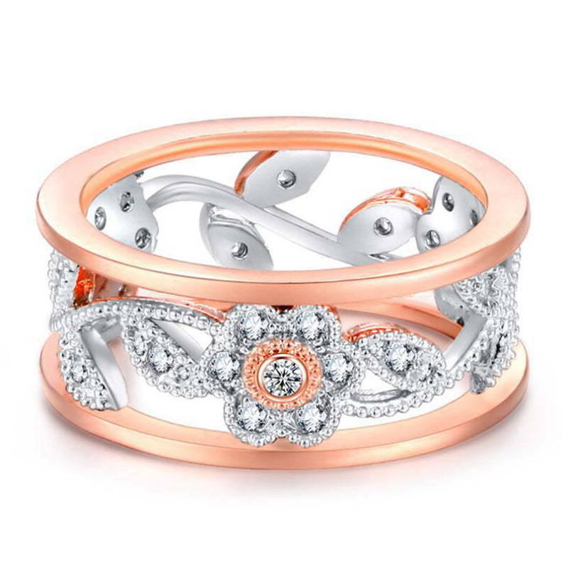 Unique Cute Flower Band Ring in Rose Gold & Silver Stackable Rings Fashion Jewelry for Women or for Teens Girls anillo de flores de oro rosa (www.Jewolite.com)
