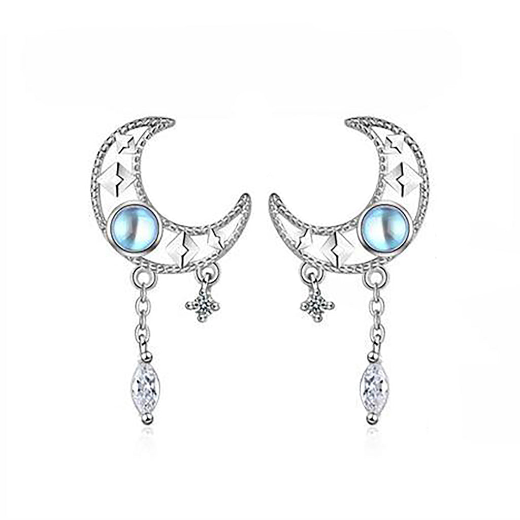 Cute Silve Opal Moonstone Moon Star Earring Studs Fashion Jewelry - www.Jewolite.com