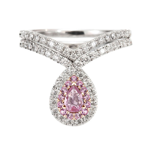 Athena Unique Created Pink Sapphire Ultra Shine Crystal Pear Teardrop Drop Crown Ring