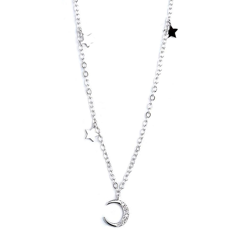 Simple Dainty Cute Moon Star Floating Chain Necklace for Girlfriends for Women for Teens in Silver - collares lindos - www.Jewolite.com