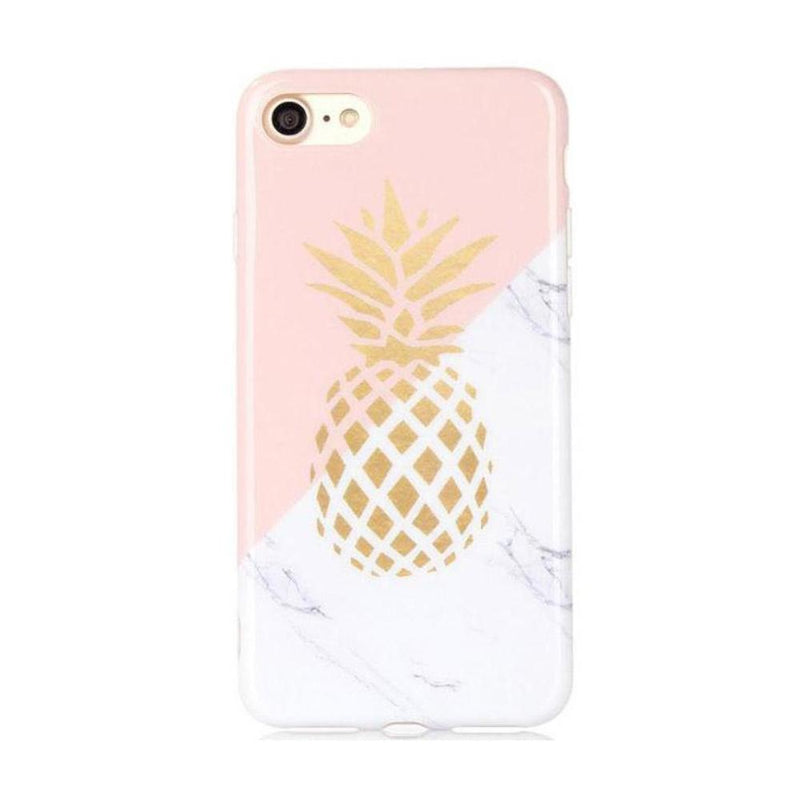 Emmi Cute Gold Pineapple White Marble Baby Pink Split