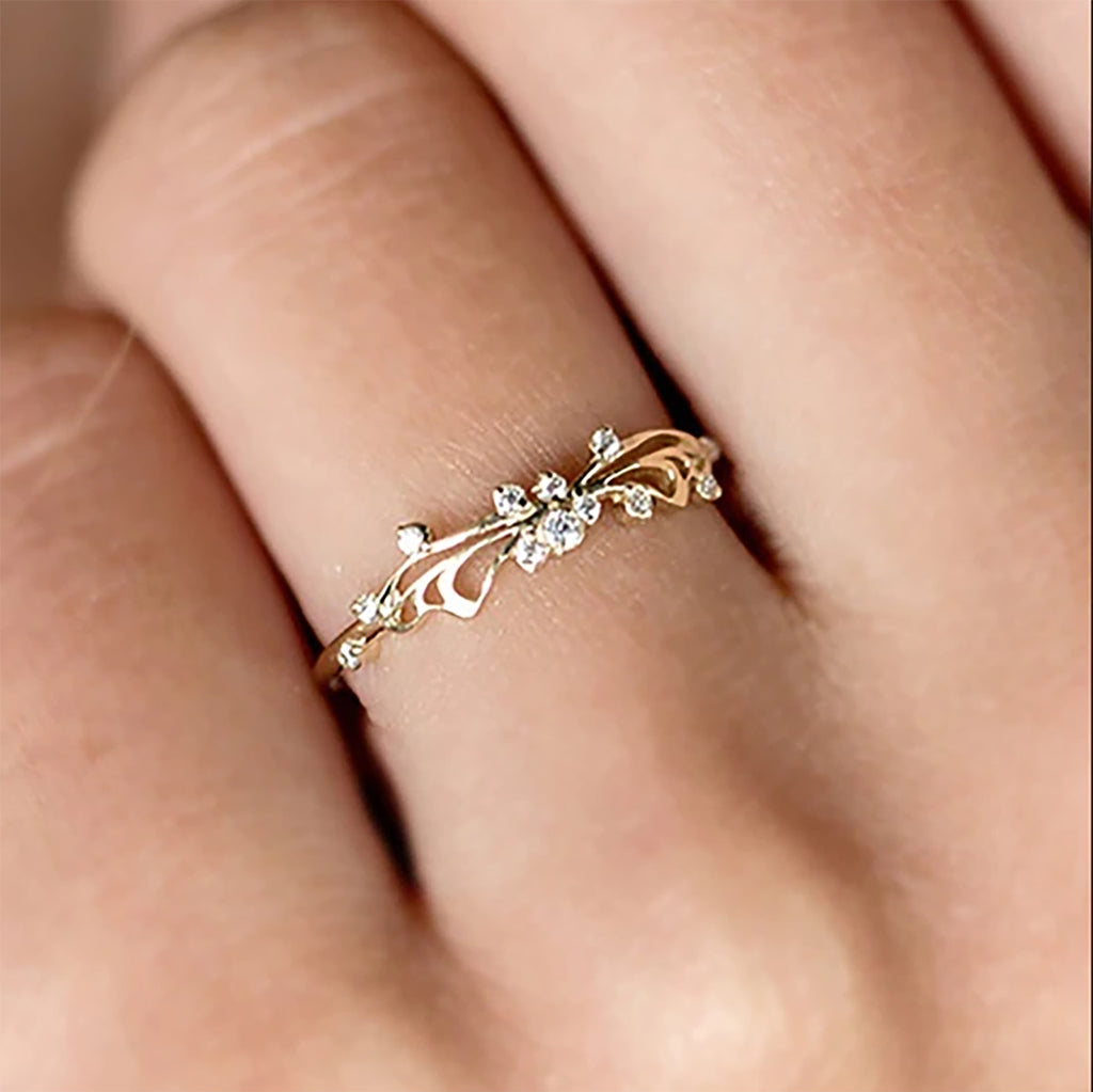Cute Simple Dainty Crystal Swirl Promise Engagement Wedding Graduation Ring Fashion Jewelry Ideas for Women in Gold - www.Jewolite.com