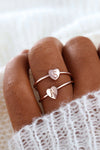 Cute Personalized Initial Heart Ring Minimalist Simple Fashion Jewelry for Teen Girls for Women in Silver, Gold or Rose Gold - www.Jewolite.com