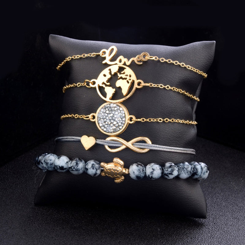 Cute Infinity Love Charm Stacked Beaded Blue Bracelet Set in Gold Statement Fashion Jewelry for Women for Teen Girls - www.Jewolite.com