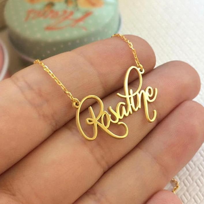 Simple Pretty Personalized Name Cursive Handwriting Necklace Fashion Jewelry for Women in Silver or Gold or Rose Gold -  collar con nombre - www.Jewolite.com #necklace
