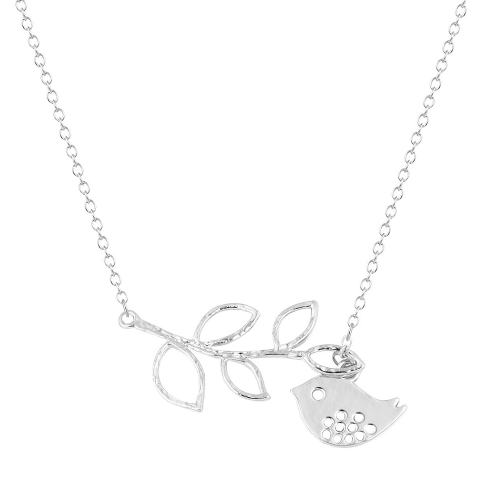 Cute Bird Pendant Lariat Necklace Statement Jewelry in Silver or Gold -lindo collar de pájaro - www.Jewolite.com #necklaces
