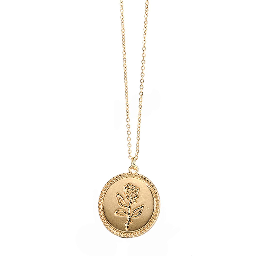 Cute Dainty Rose Coin Gold Pendant Chain Necklace for Teen Girls Women - collar de monedas de oro rosa delicado para las niñas adolescentes - www.Jewolite.com