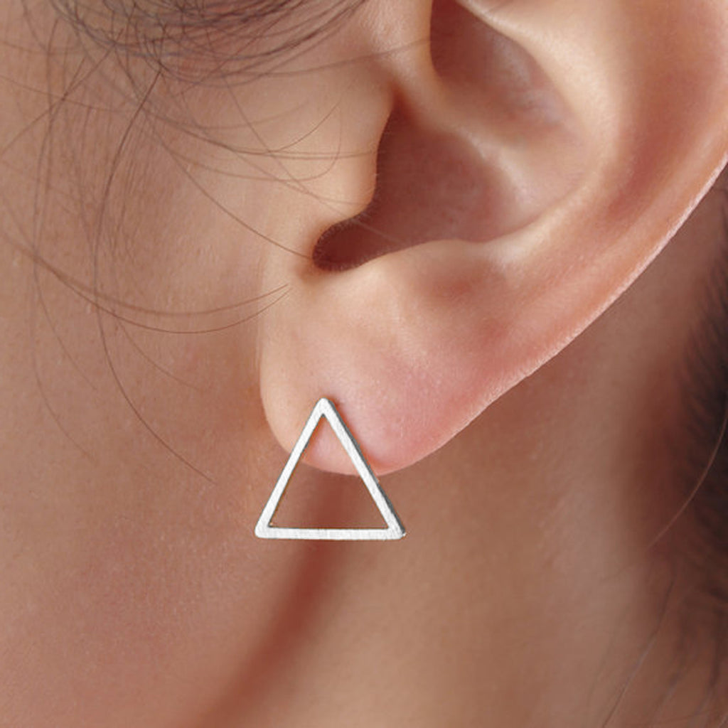 Minimalist Earrings for Women - Modern Artistic Simple Geometric Metal Triangle Stud Earrings - Pendientes triángulo minimalista para mujer - www.Jewolite.com #earrings