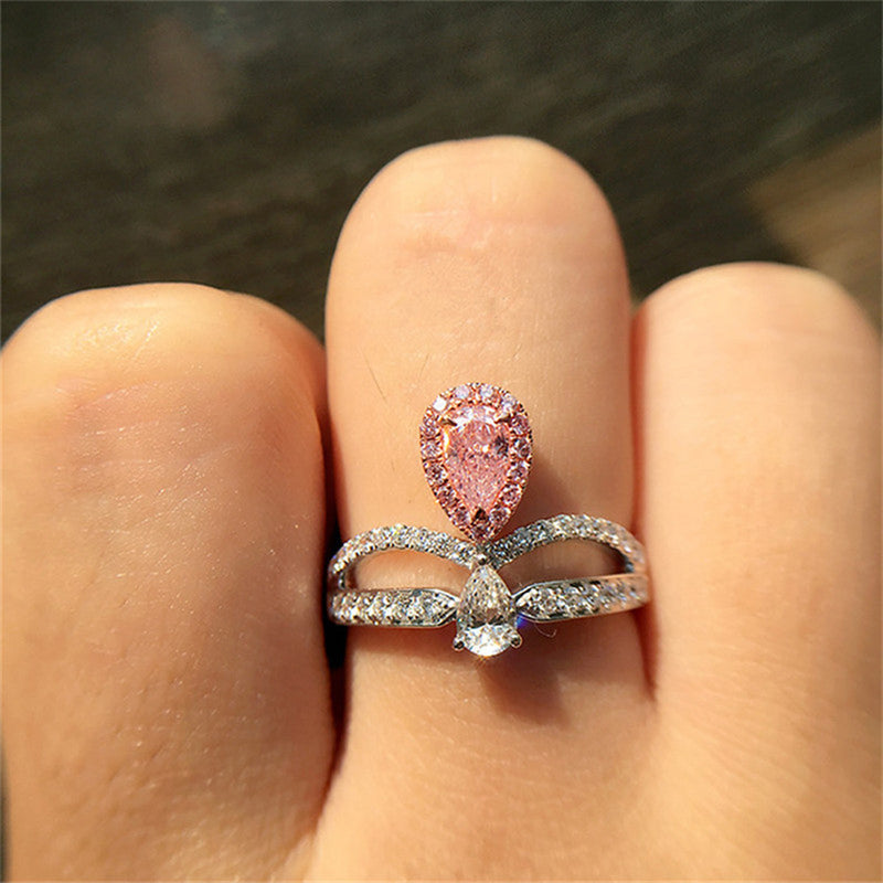 Unique Pear Cut Crown Ring Cute Engagement Promise Graduation Wedding Rings Pink Sapphire Double Band V Arrow Princess Crystal Diamond Fashion Statement Jewelry in Silver (www.Jewolite.com) #rings
